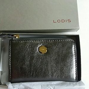 Lodis small leather card case NWOT
